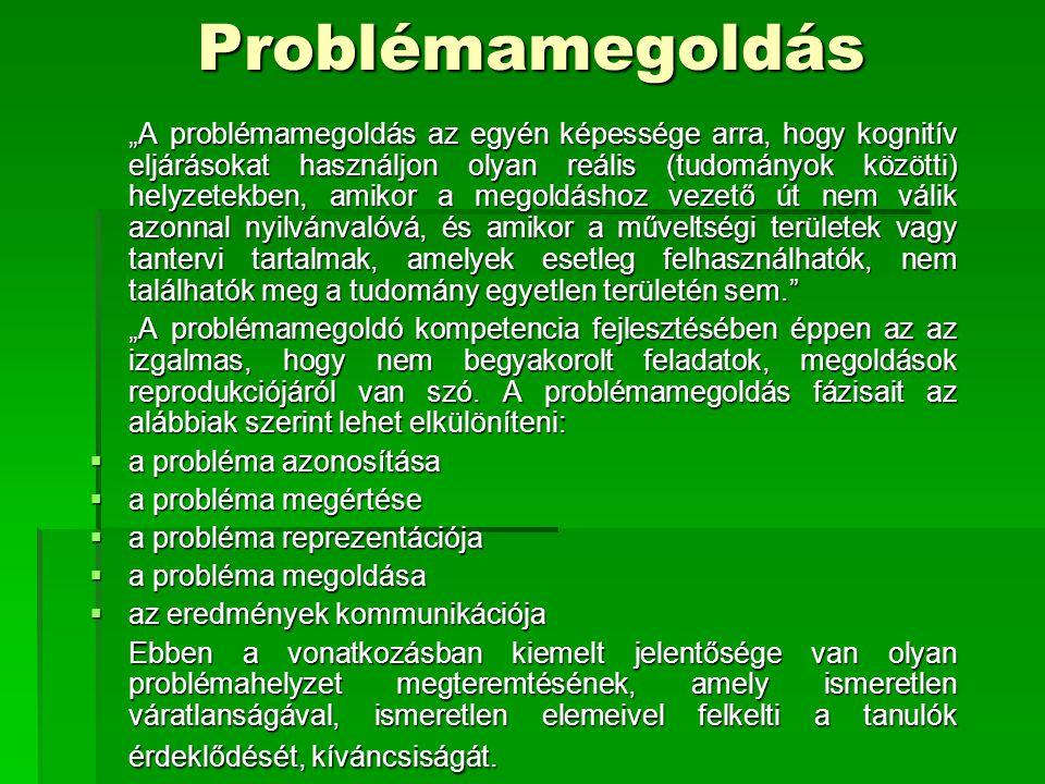 """Problémamegoldás """"A problémamegoldás az egyén képessége arra, hogy kognitív eljárásokat használjon olyan reális (tudományok közötti) helyzetekben, ami"""