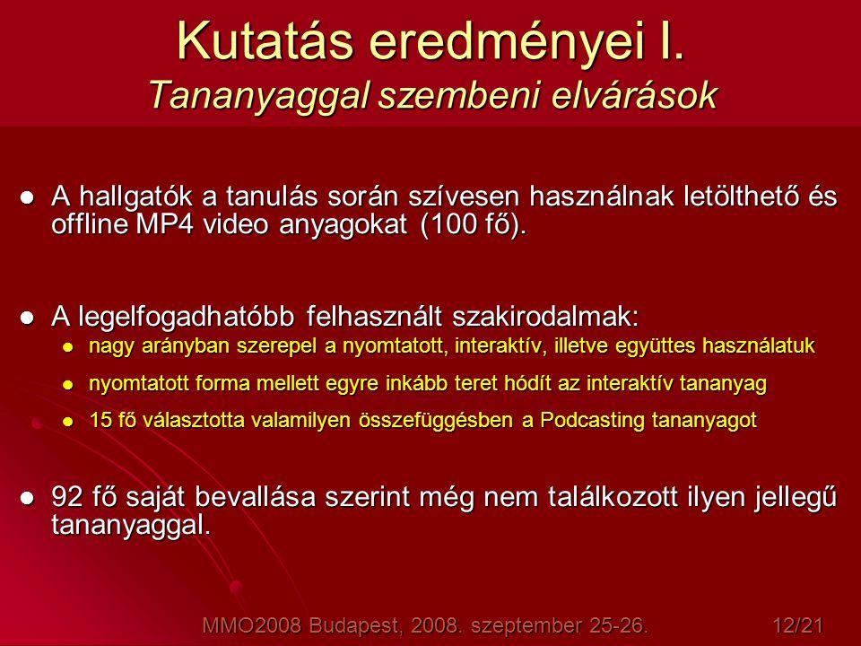 Kutatás eredményei I. Tananyaggal szembeni elvárások  A hallgatók a tanulás során szívesen használnak letölthető és offline MP4 video anyagokat (100