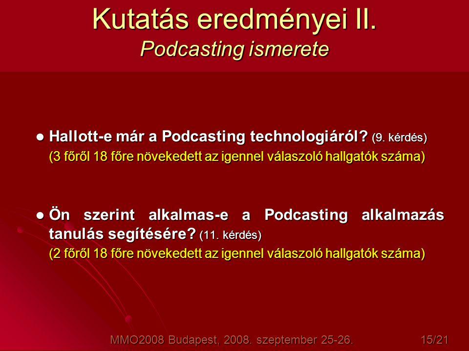 Hallott-e már a Podcasting technologiáról? (9. kérdés) (3 főről 18 főre növekedett az igennel válaszoló hallgatók száma)  Ön szerint alkalmas-e a P