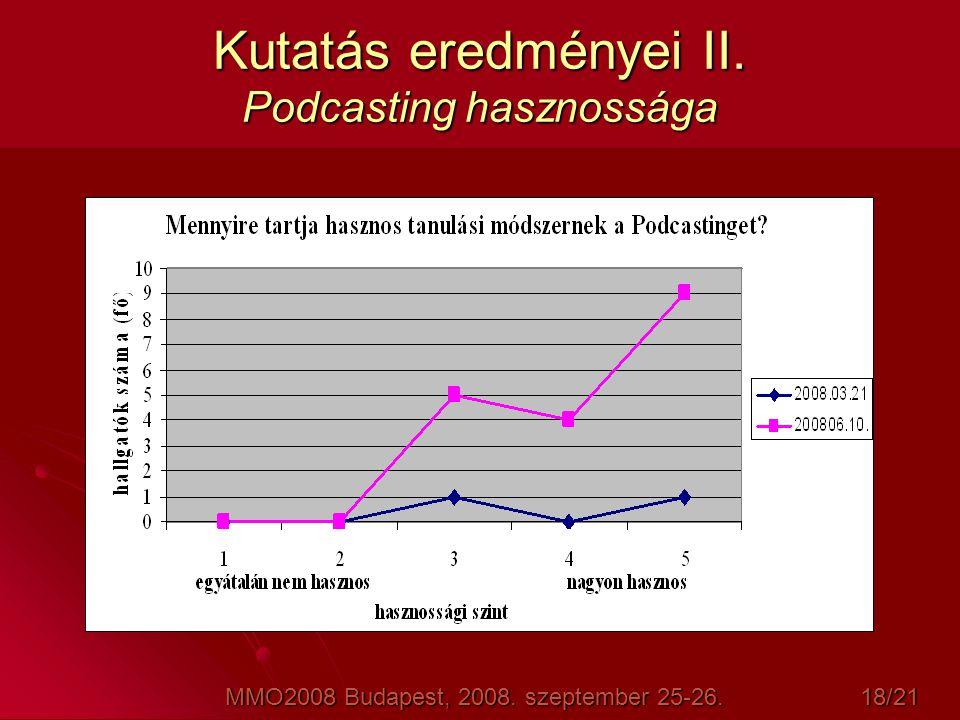 Kutatás eredményei II. Podcasting hasznossága MMO2008 Budapest, 2008. szeptember 25-26. 18/21