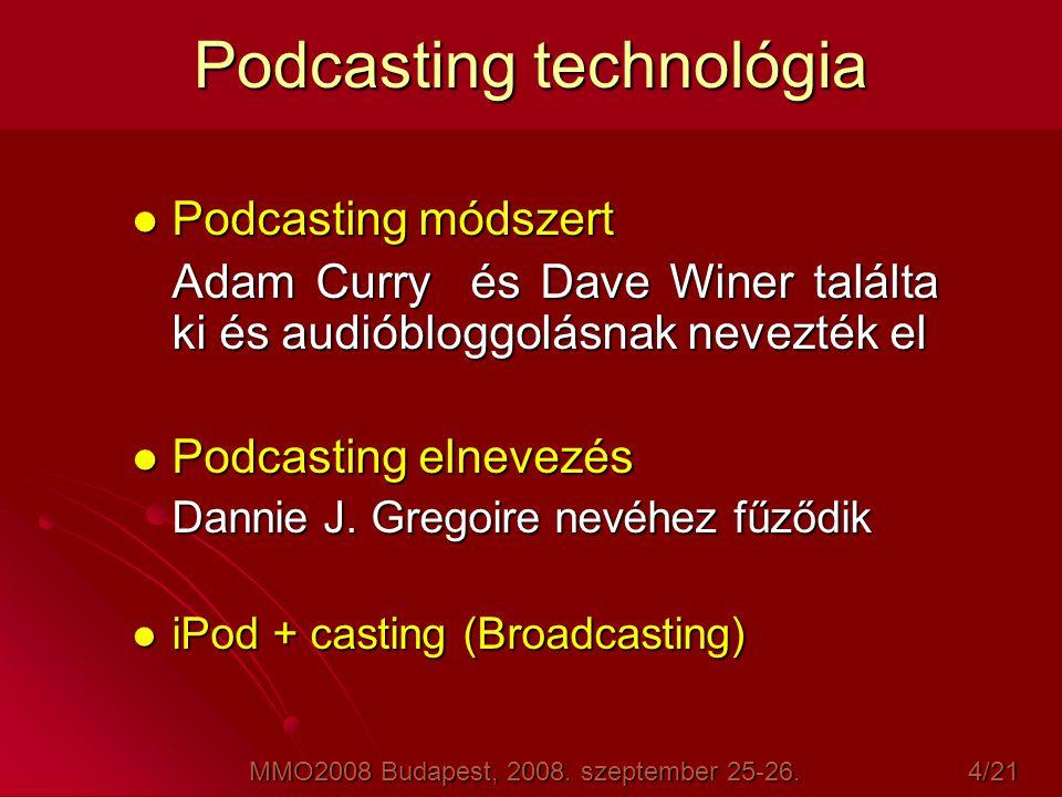 Podcasting mechanizmus Podcast = audio vagy video fájlok (képek, szöveg, PDF formátumú dokumentum, vagy egyéb fájltípus), amik letöltődnek a hálózatról és utána bármikor lejátszhatóak egy Mac-n, PC-n, iPod-on.