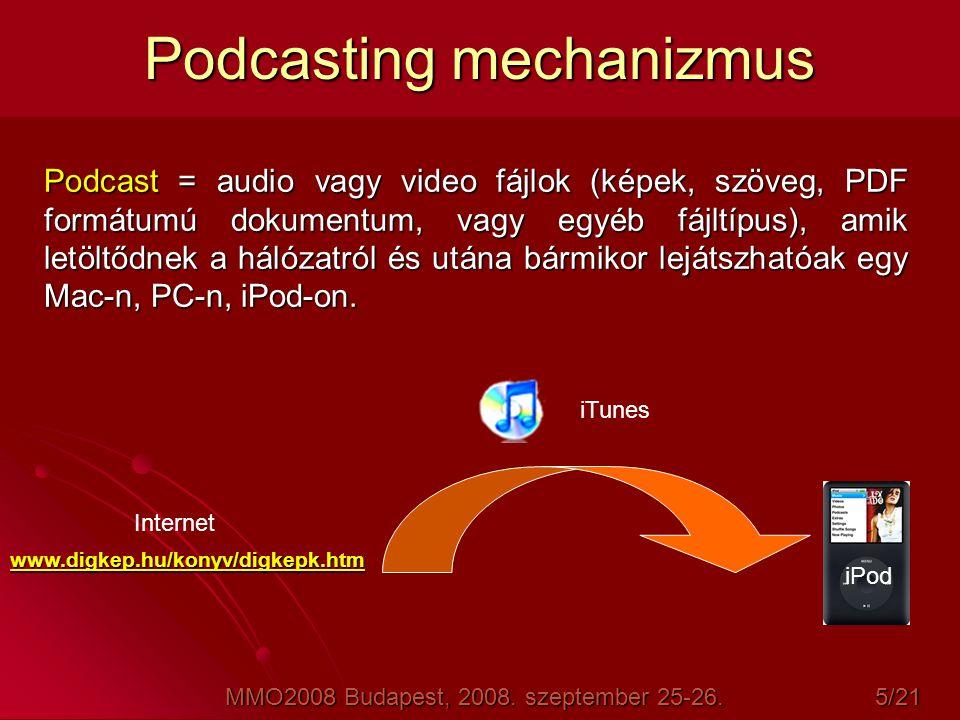 Podcasting mechanizmus Podcast = audio vagy video fájlok (képek, szöveg, PDF formátumú dokumentum, vagy egyéb fájltípus), amik letöltődnek a hálózatró