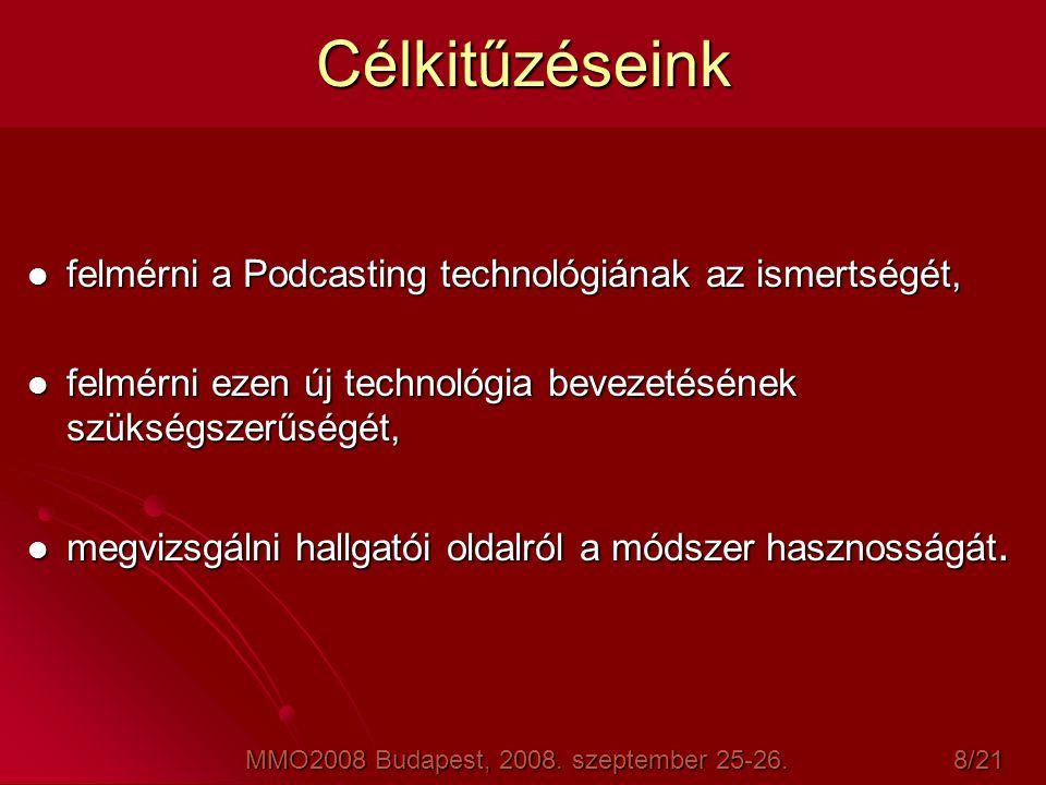 Célkitűzéseink  felmérni a Podcasting technológiának az ismertségét,  felmérni ezen új technológia bevezetésének szükségszerűségét,  megvizsgálni h