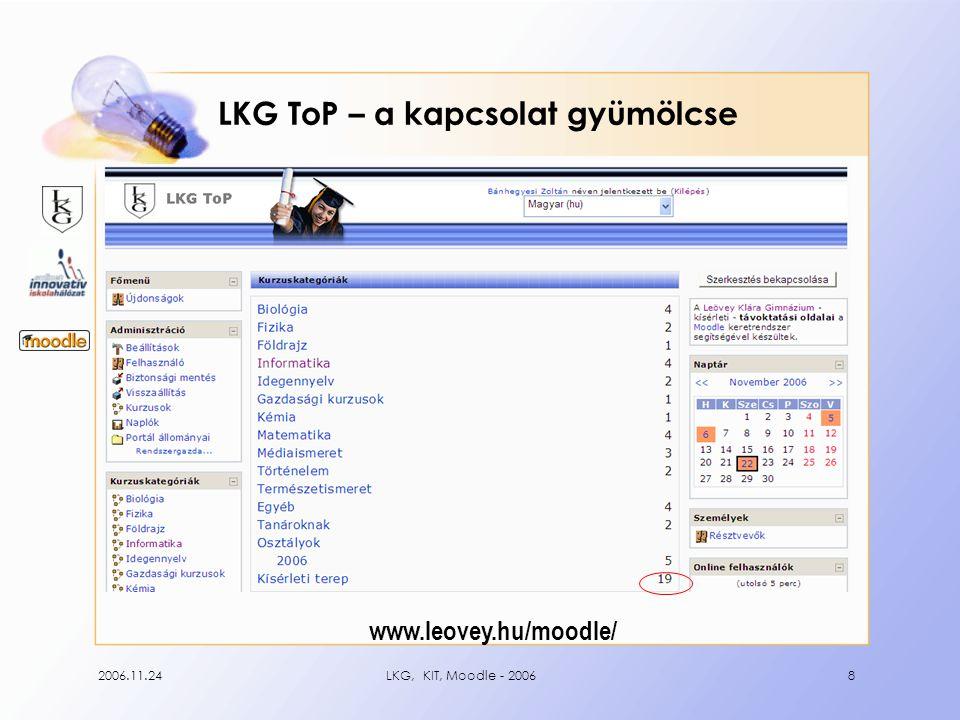 2006.11.24LKG, KIT, Moodle - 200619 Konfliktusok egy jó családban •nem (hogyan) működik az izé a Moodle-ban!.