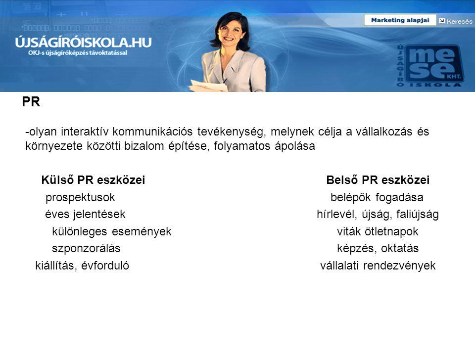 PR -olyan interaktív kommunikációs tevékenység, melynek célja a vállalkozás és környezete közötti bizalom építése, folyamatos ápolása Külső PR eszköze