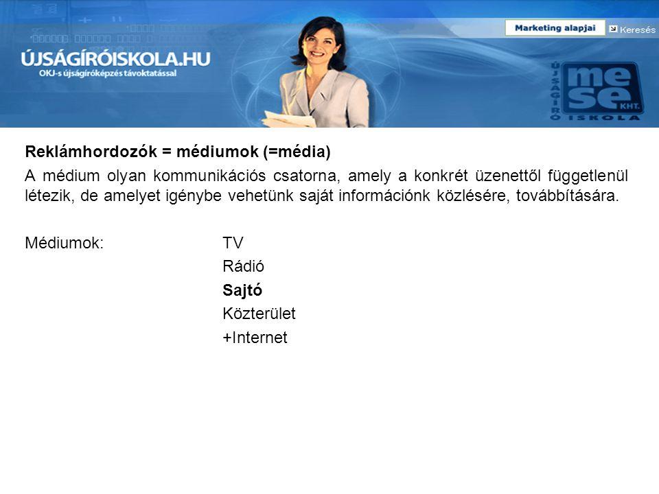 Reklámhordozók = médiumok (=média) A médium olyan kommunikációs csatorna, amely a konkrét üzenettől függetlenül létezik, de amelyet igénybe vehetünk s