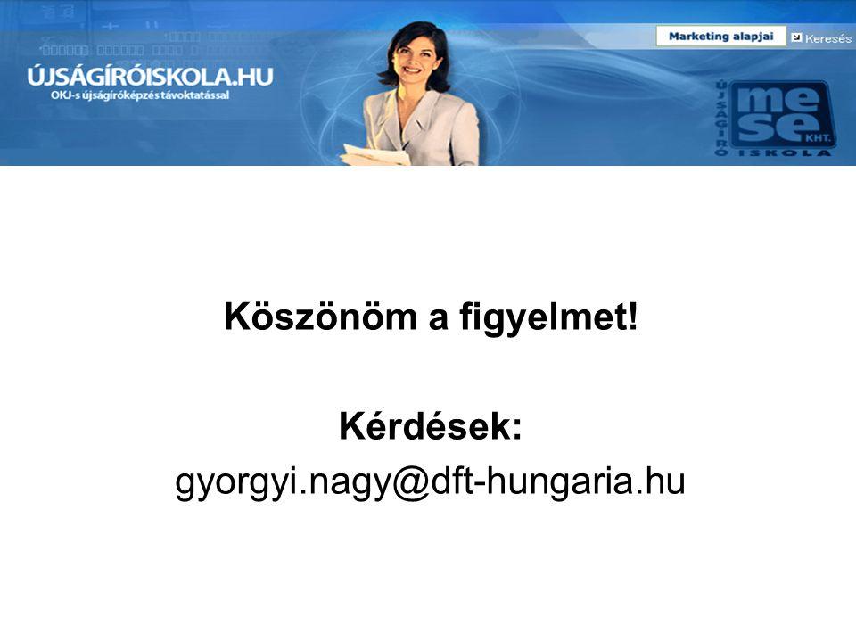 Köszönöm a figyelmet! Kérdések: gyorgyi.nagy@dft-hungaria.hu