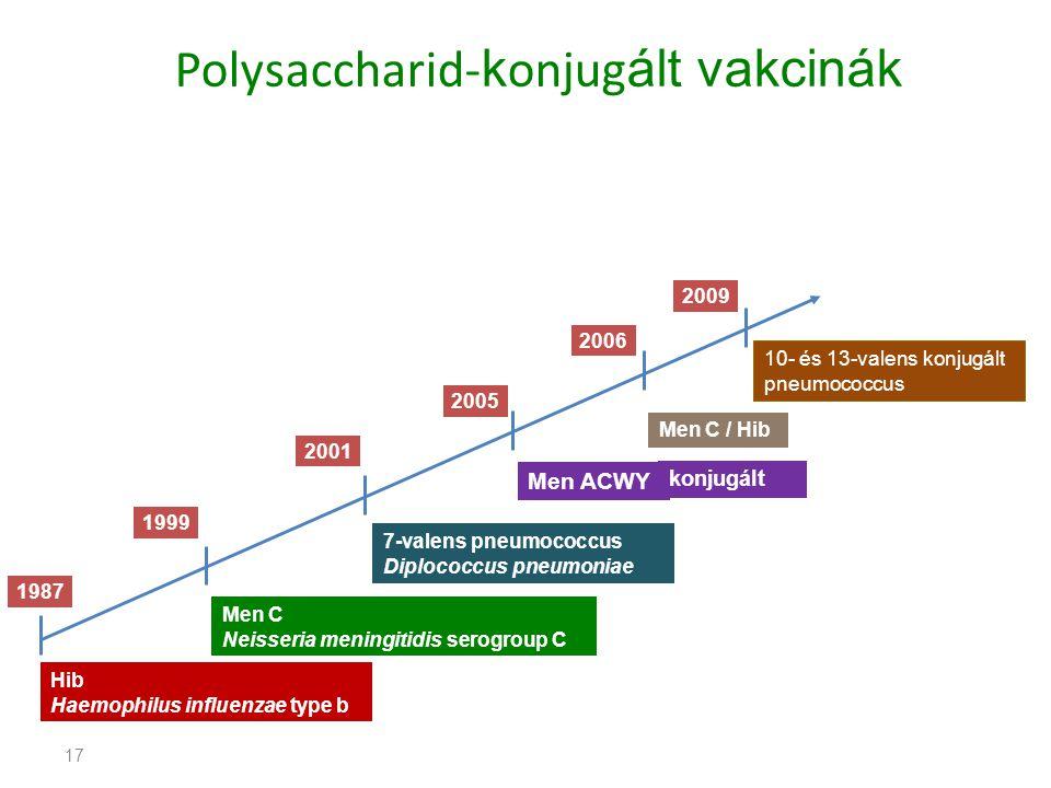 17 Polysaccharid- k onjug ált vakcinák 1987 1999 2001 2005 2006 Hib Haemophilus influenzae type b Men C Neisseria meningitidis serogroup C 7-valens pneumococcus Diplococcus pneumoniae Men ACWY Men C / Hib 2009 10- és 13-valens konjugált pneumococcus konjugált