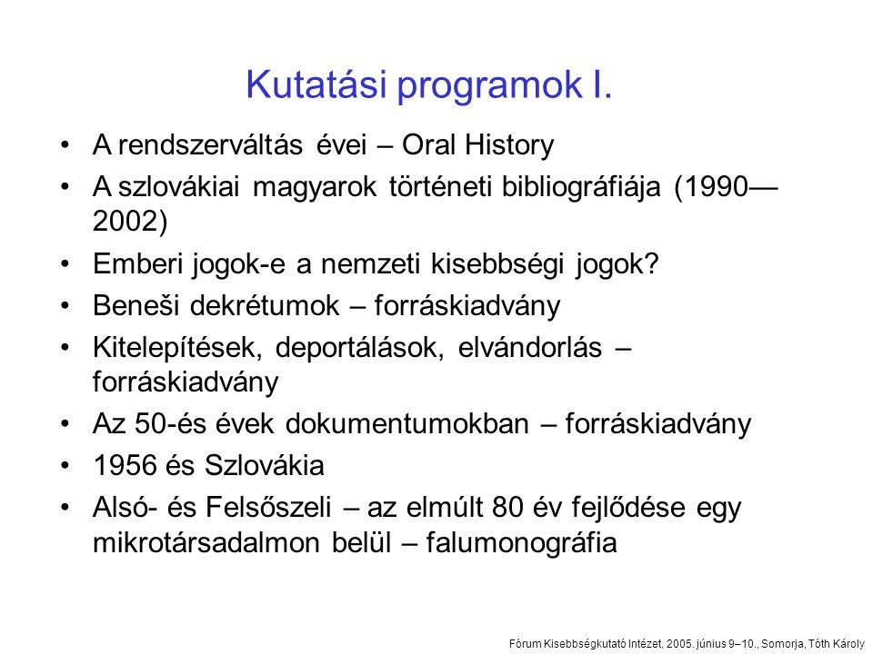Kutatási programok I.