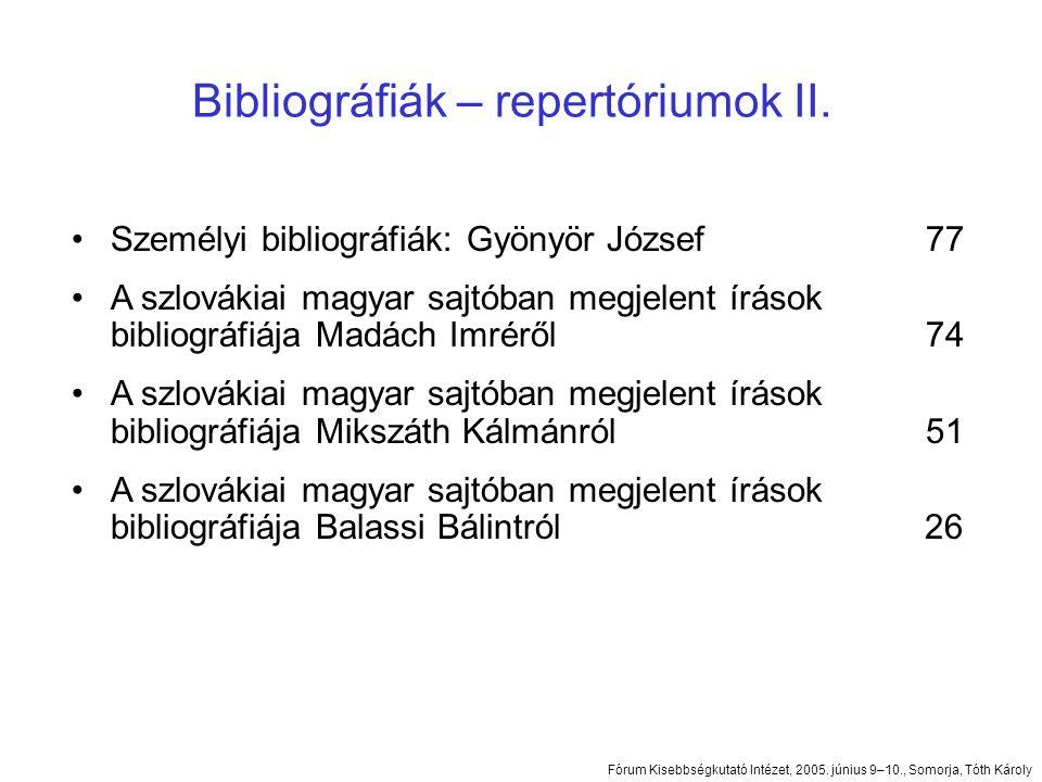 Bibliográfiák – repertóriumok II.