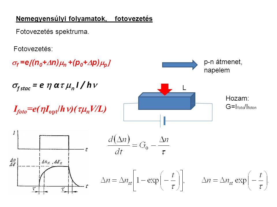 Nemegyensúlyi folyamatok, fotovezetés Fotovezetés spektruma. Fotovezetés:  f =e  (n 0 +  n)  n +(p 0 +  p)  p   f stac = e  α   n I / h  p