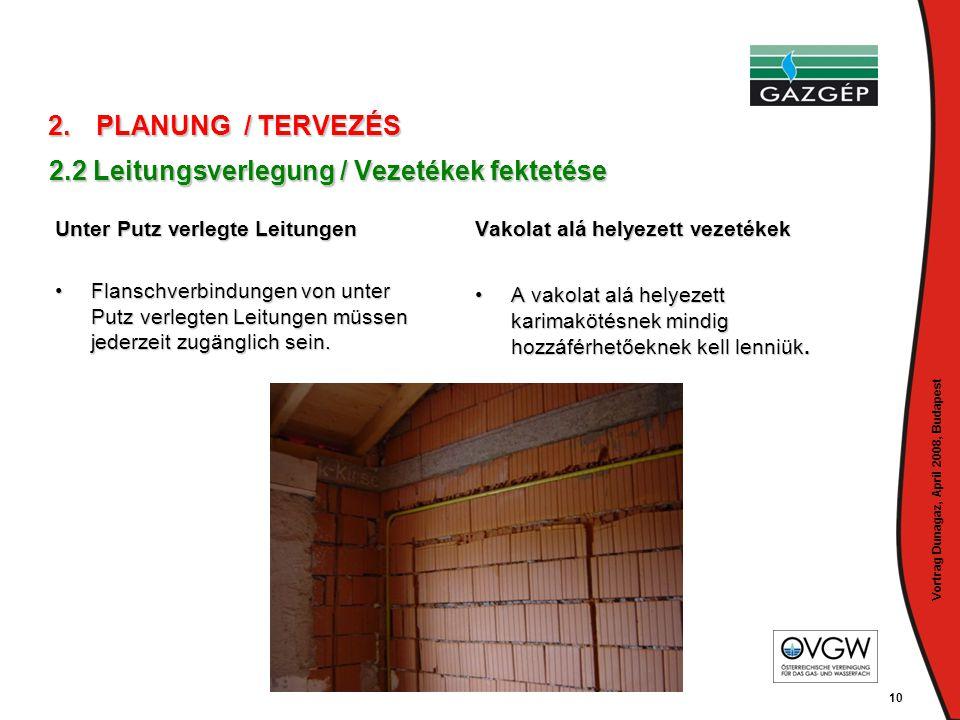 Vortrag Dunagaz, April 2008, Budapest 10 2.2 Leitungsverlegung / Vezetékek fektetése Unter Putz verlegte Leitungen •Flanschverbindungen von unter Putz