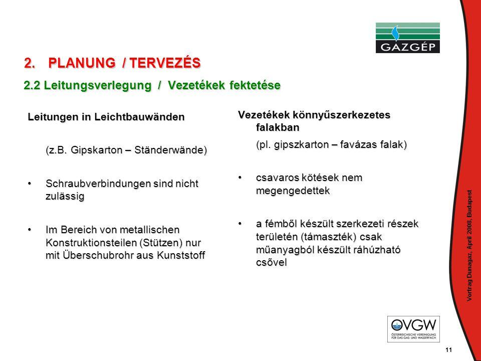 Vortrag Dunagaz, April 2008, Budapest 11 Leitungen in Leichtbauwänden (z.B. Gipskarton – Ständerwände) •Schraubverbindungen sind nicht zulässig •Im Be