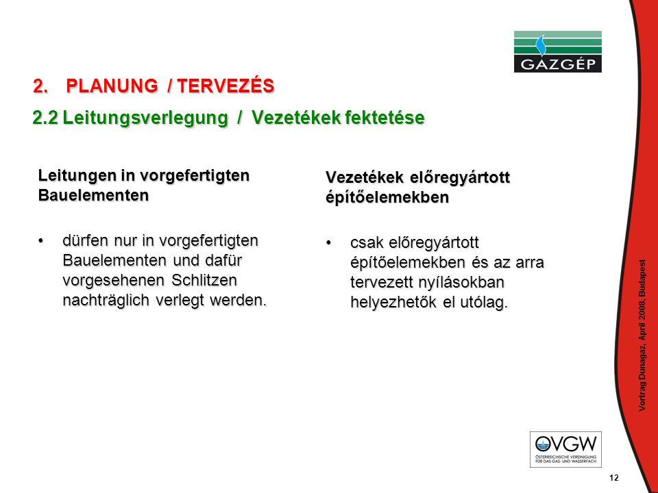 Vortrag Dunagaz, April 2008, Budapest 12 Leitungen in vorgefertigten Bauelementen •dürfen nur in vorgefertigten Bauelementen und dafür vorgesehenen Sc