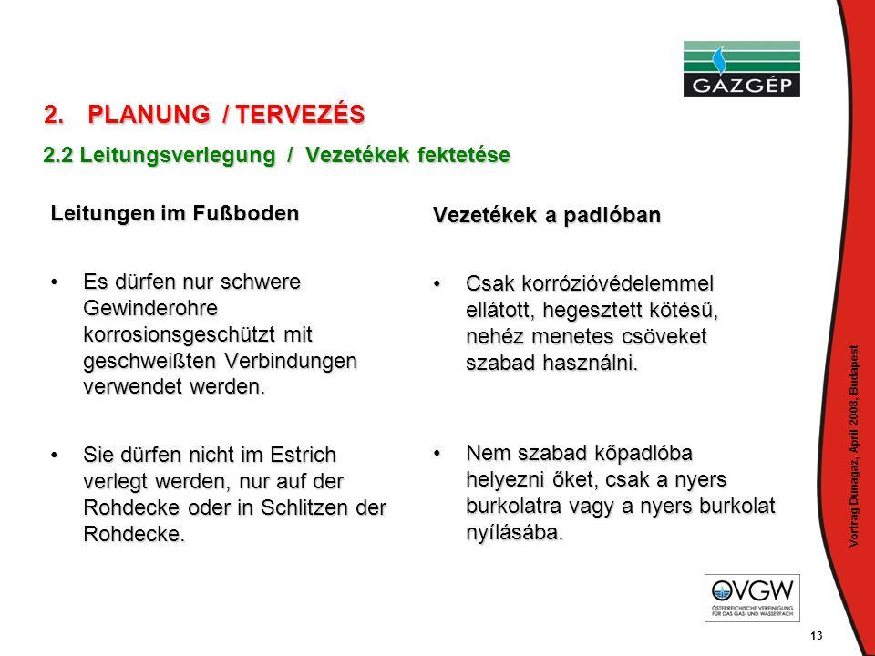 Vortrag Dunagaz, April 2008, Budapest 13 Leitungen im Fußboden •Es dürfen nur schwere Gewinderohre korrosionsgeschützt mit geschweißten Verbindungen v