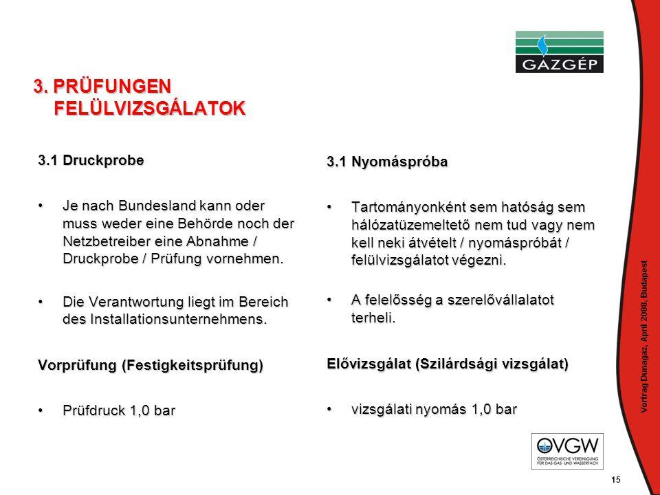 Vortrag Dunagaz, April 2008, Budapest 15 3. PRÜFUNGEN FELÜLVIZSGÁLATOK 3.1 Druckprobe •Je nach Bundesland kann oder muss weder eine Behörde noch der N