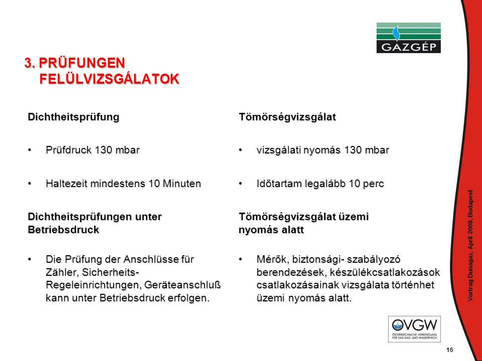 Vortrag Dunagaz, April 2008, Budapest 16 3. PRÜFUNGEN FELÜLVIZSGÁLATOK Dichtheitsprüfung •Prüfdruck 130 mbar •Haltezeit mindestens 10 Minuten Dichthei