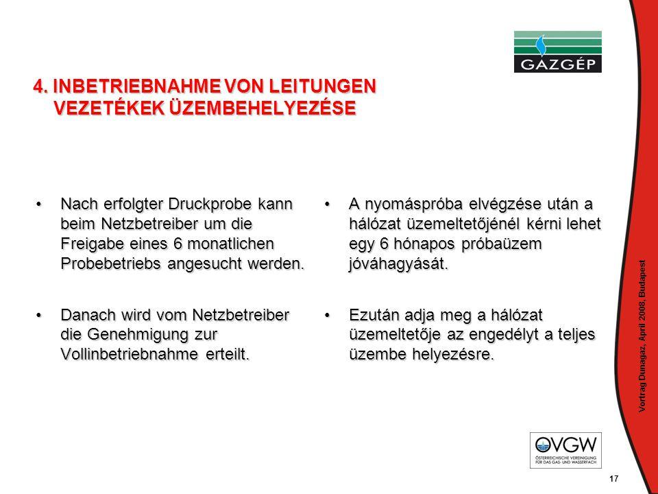Vortrag Dunagaz, April 2008, Budapest 17 4. INBETRIEBNAHME VON LEITUNGEN VEZETÉKEK ÜZEMBEHELYEZÉSE •Nach erfolgter Druckprobe kann beim Netzbetreiber