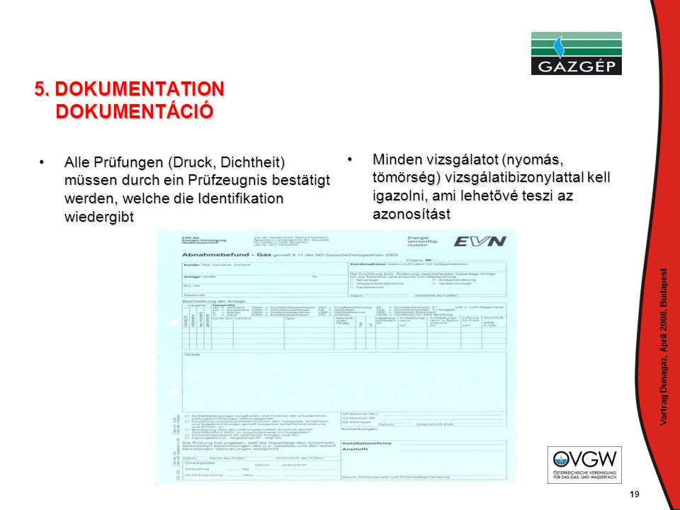 Vortrag Dunagaz, April 2008, Budapest 19 5. DOKUMENTATION DOKUMENTÁCIÓ •Alle Prüfungen (Druck, Dichtheit) müssen durch ein Prüfzeugnis bestätigt werde