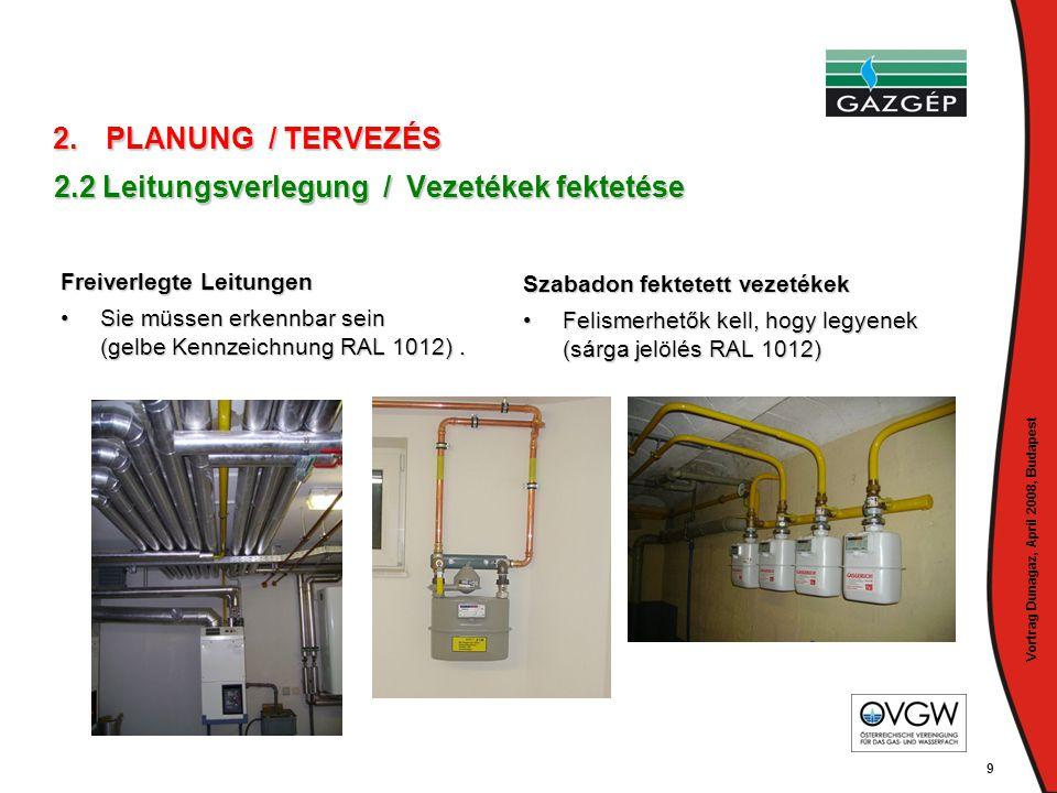 Vortrag Dunagaz, April 2008, Budapest 9 2.2 Leitungsverlegung / Vezetékek fektetése Freiverlegte Leitungen Freiverlegte Leitungen •Sie müssen erkennba