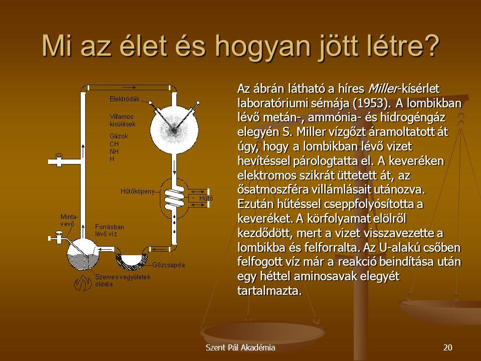 Szent Pál Akadémia20 Mi az élet és hogyan jött létre? Az ábrán látható a híres Miller-kísérlet laboratóriumi sémája (1953). A lombikban lévő metán-, a
