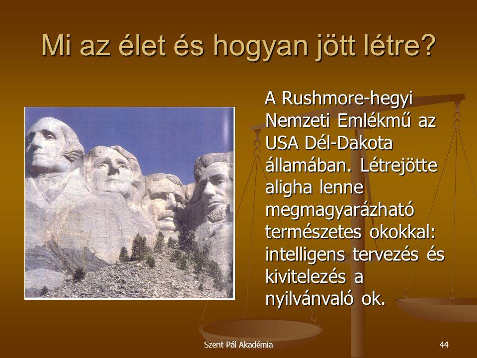 Szent Pál Akadémia44 Mi az élet és hogyan jött létre? A Rushmore-hegyi Nemzeti Emlékmű az USA Dél-Dakota államában. Létrejötte aligha lenne megmagyará