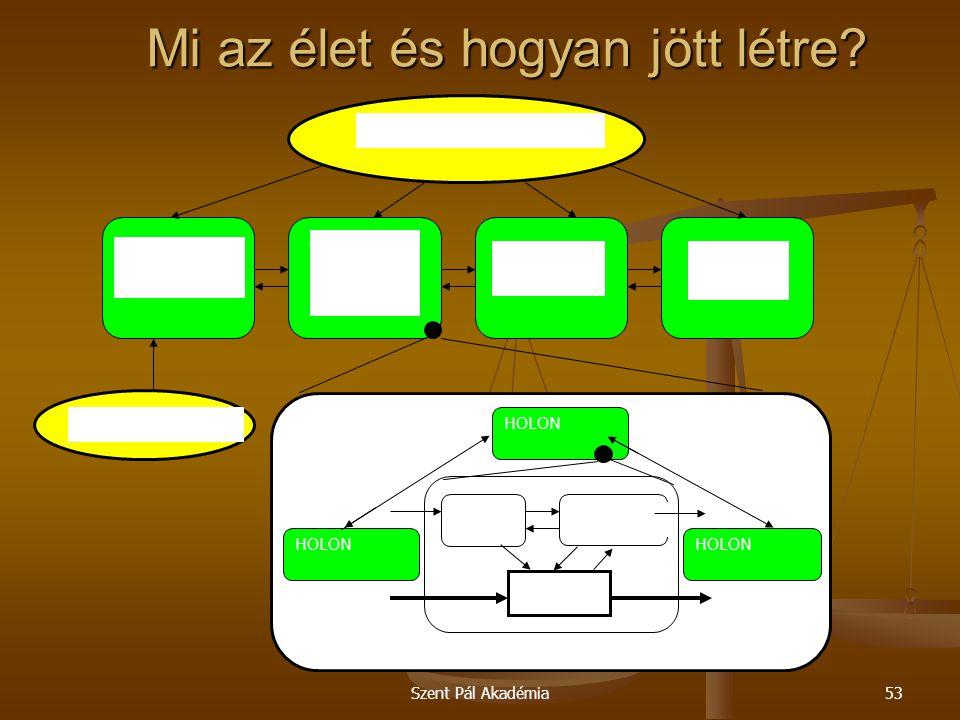 Szent Pál Akadémia53 Mi az élet és hogyan jött létre? HOLON Anyagáram Információs áram Ember Vezérlés Funkció Holonikus infrastruktúra Piaci környezet