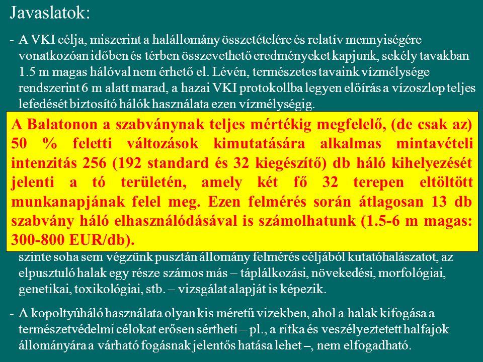 Javaslatok: -A VKI célja, miszerint a halállomány összetételére és relatív mennyiségére vonatkozóan időben és térben összevethető eredményeket kapjunk, sekély tavakban 1.5 m magas hálóval nem érhető el.