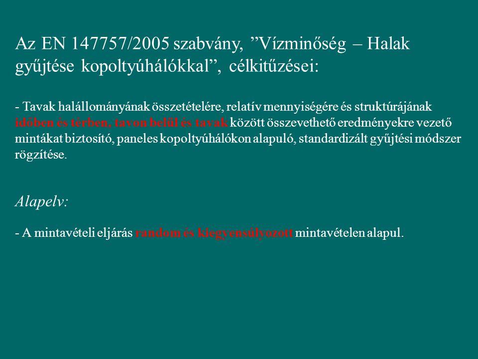 """Az EN 147757/2005 szabvány, """"Vízminőség – Halak gyűjtése kopoltyúhálókkal"""", célkitűzései: - Tavak halállományának összetételére, relatív mennyiségére"""