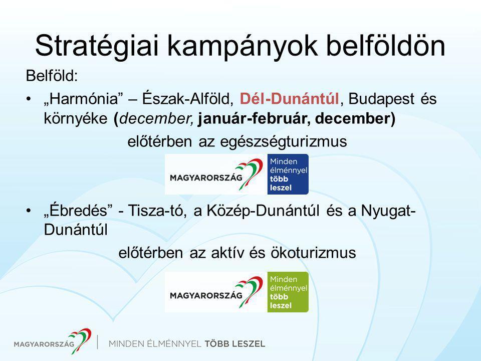 """Stratégiai kampányok belföldön Belföld: •""""Harmónia – Észak-Alföld, Dél-Dunántúl, Budapest és környéke (december, január-február, december) előtérben az egészségturizmus •""""Ébredés - Tisza-tó, a Közép-Dunántúl és a Nyugat- Dunántúl előtérben az aktív és ökoturizmus"""
