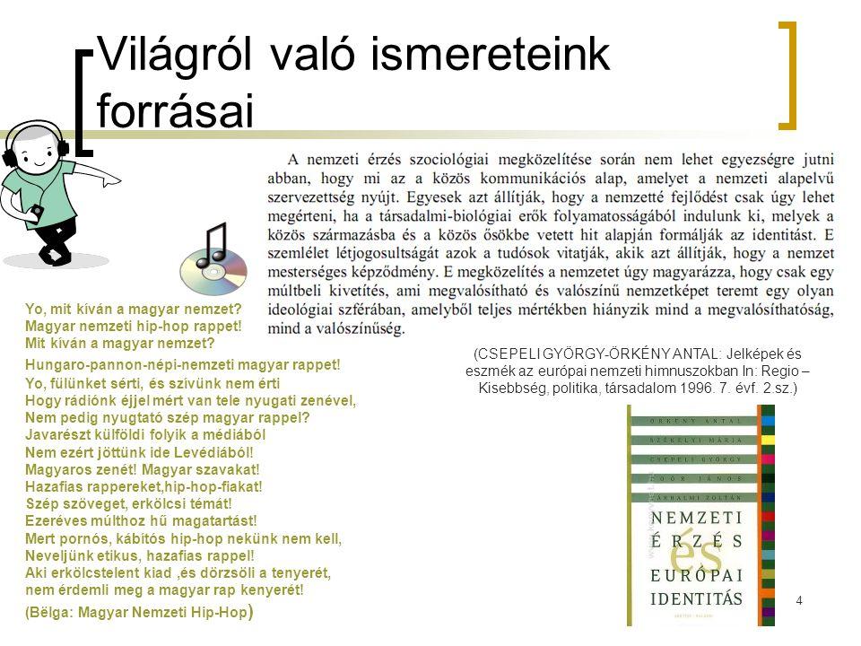 4 Világról való ismereteink forrásai Yo, mit kíván a magyar nemzet? Magyar nemzeti hip-hop rappet! Mit kíván a magyar nemzet? Hungaro-pannon-népi-nemz