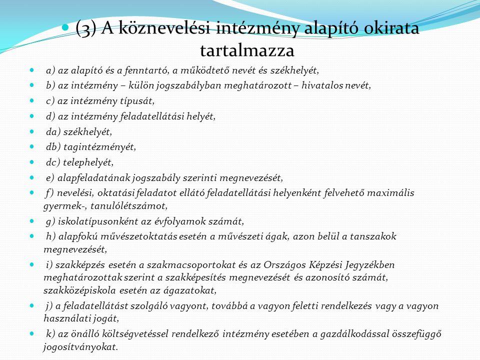  (3) A köznevelési intézmény alapító okirata tartalmazza  a) az alapító és a fenntartó, a működtető nevét és székhelyét,  b) az intézmény – külön j