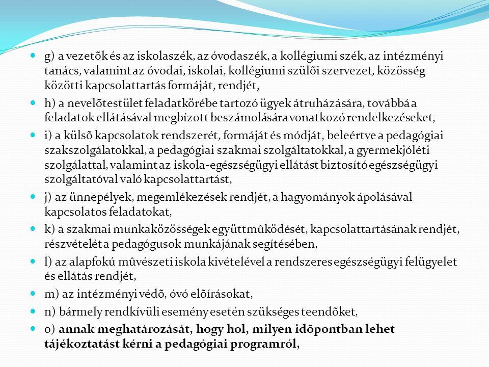  g) a vezetõk és az iskolaszék, az óvodaszék, a kollégiumi szék, az intézményi tanács, valamint az óvodai, iskolai, kollégiumi szülõi szervezet, közö