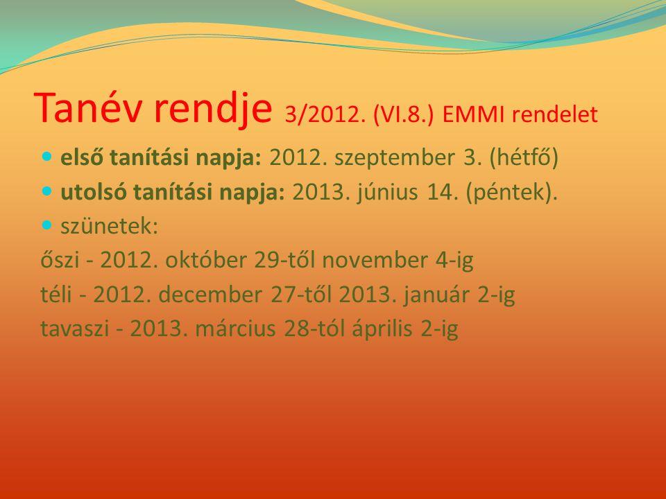 Tanév rendje 3/2012. (VI.8.) EMMI rendelet  első tanítási napja: 2012. szeptember 3. (hétfő)  utolsó tanítási napja: 2013. június 14. (péntek).  sz