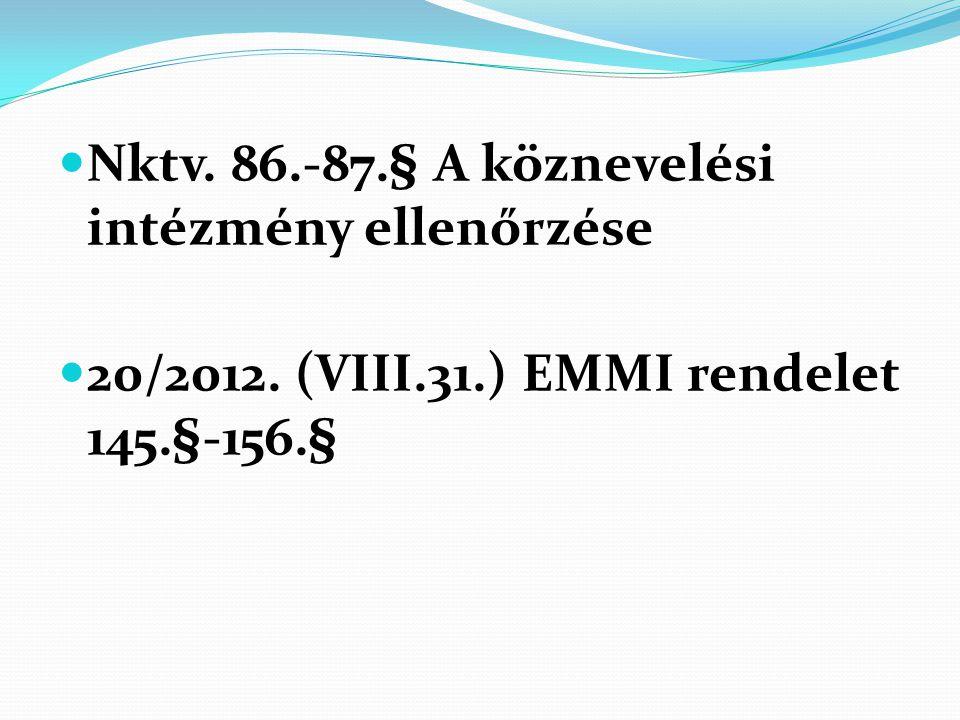  Nktv. 86.-87.§ A köznevelési intézmény ellenőrzése  20/2012. (VIII.31.) EMMI rendelet 145.§-156.§