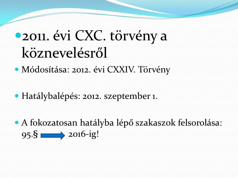  2011. évi CXC. törvény a köznevelésről  Módosítása: 2012. évi CXXIV. Törvény  Hatálybalépés: 2012. szeptember 1.  A fokozatosan hatályba lépő sza