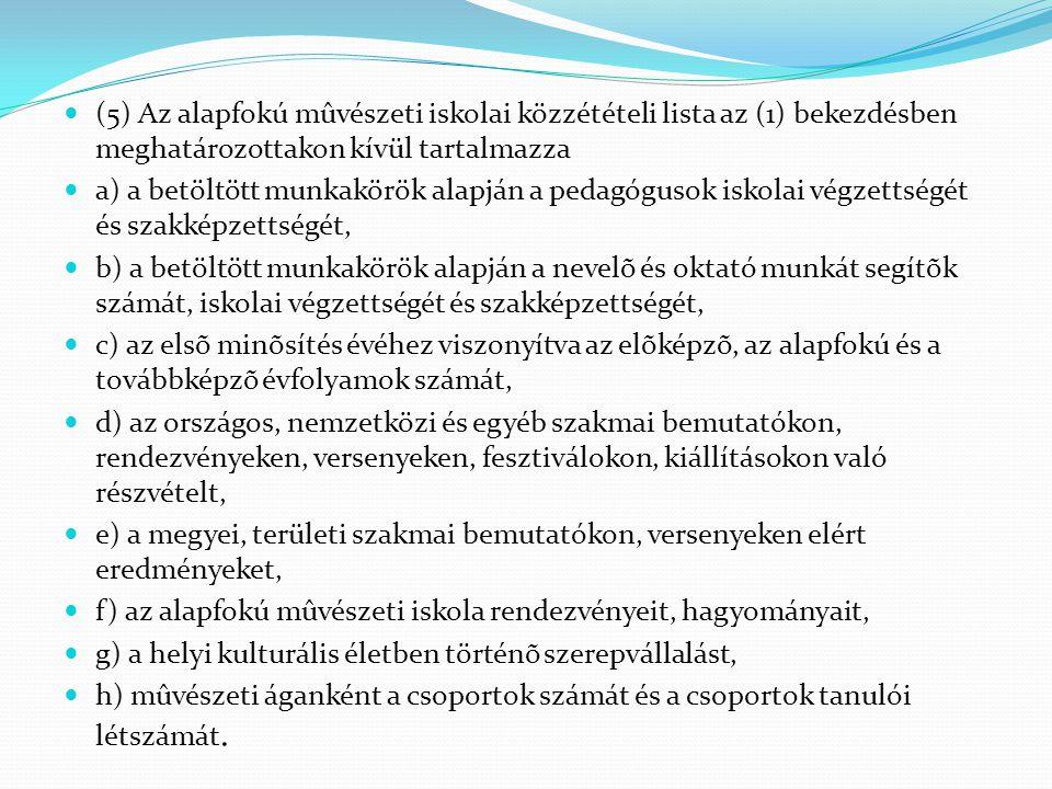  (5) Az alapfokú mûvészeti iskolai közzétételi lista az (1) bekezdésben meghatározottakon kívül tartalmazza  a) a betöltött munkakörök alapján a ped