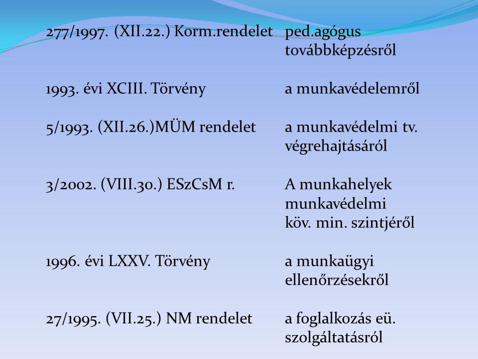 277/1997. (XII.22.) Korm.rendeletped.agógus továbbképzésről 1993. évi XCIII. Törvény a munkavédelemről 5/1993. (XII.26.)MÜM rendeleta munkavédelmi tv.