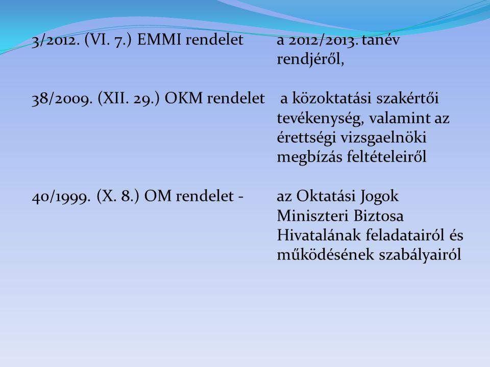 3/2012. (VI. 7.) EMMI rendelet a 2012/2013. tanév rendjéről, 38/2009. (XII. 29.) OKM rendelet a közoktatási szakértői tevékenység, valamint az érettsé