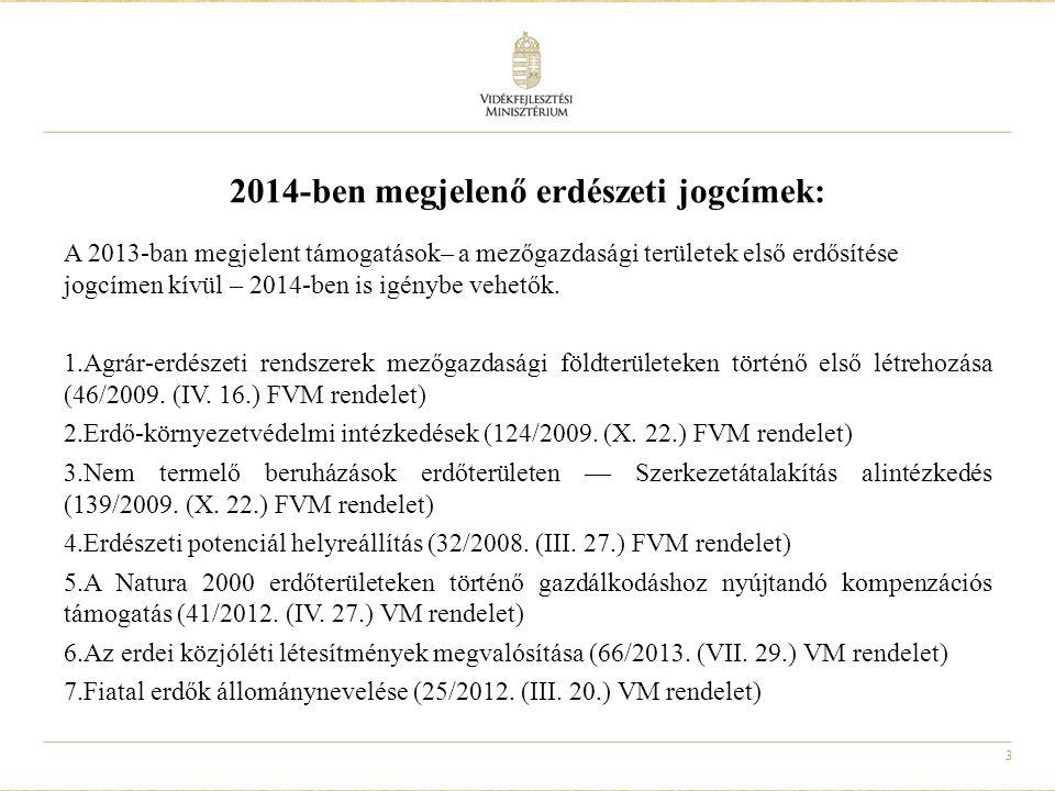 4 Új jogcím: az Európai Mezőgazdasági Vidékfejlesztési Alapból az erdészeti potenciál - abiotikus károk kialakulásának megelőzéséhez nyújtandó támogatások részletes feltételeiről szóló VM rendelet Támogatás vehető igénybe a)Tűzpászta fenntartásra; b)nem értékesíthető, vékony tisztítási anyag (tisztításból kikerülő faanyag) kiközelítésére; c) víznyerőhely kialakítására.