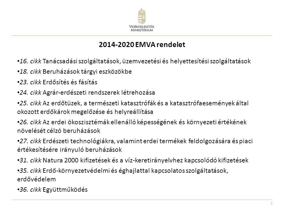 5 2014-2020 EMVA rendelet • 16. cikk Tanácsadási szolgáltatások, üzemvezetési és helyettesítési szolgáltatások • 18. cikk Beruházások tárgyi eszközökb