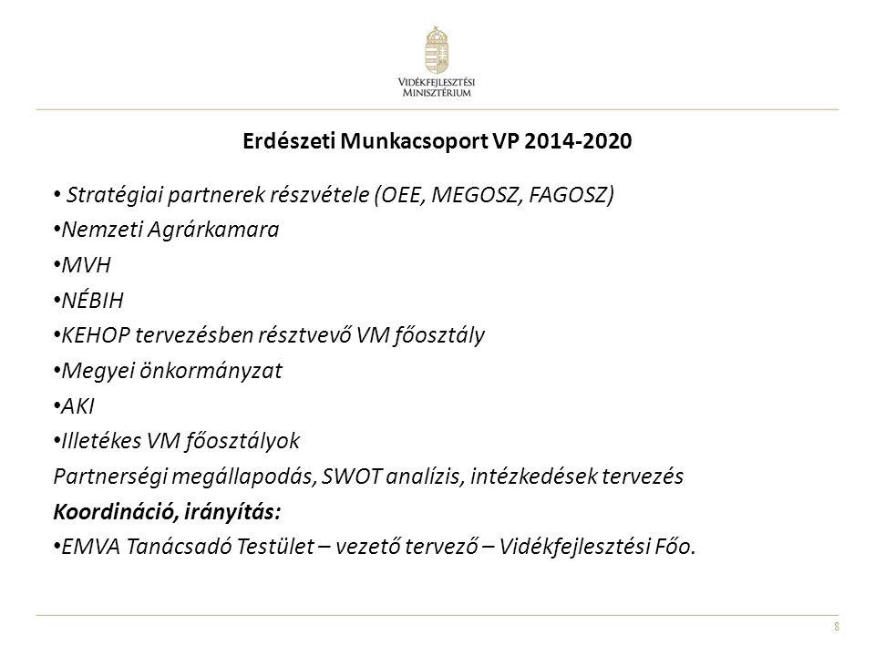 8 Erdészeti Munkacsoport VP 2014-2020 • Stratégiai partnerek részvétele (OEE, MEGOSZ, FAGOSZ) • Nemzeti Agrárkamara • MVH • NÉBIH • KEHOP tervezésben