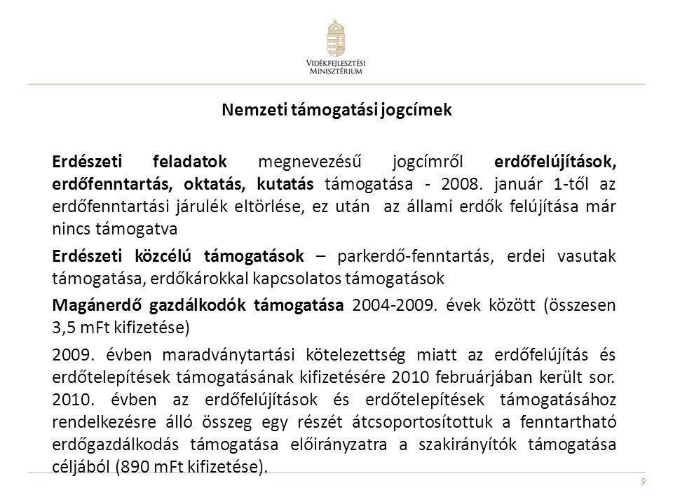 10 Új nemzeti erdészeti jogcímek Erdőterület közjóléti célú védelmének és bővítésének feladatai (2006- 2007.