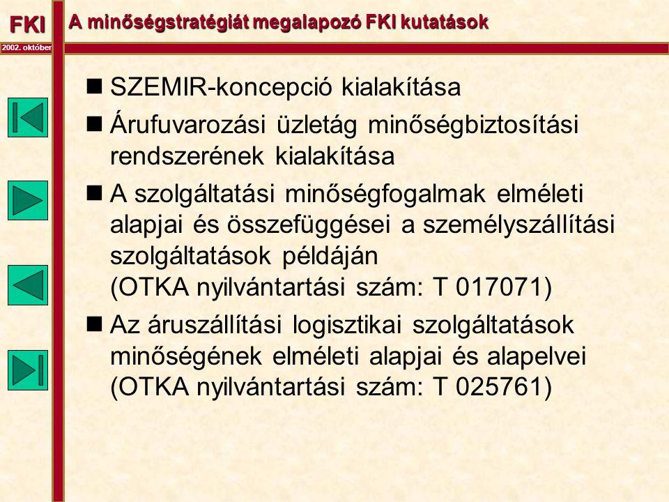 FKI 2002. október A minőségstratégiát megalapozó FKI kutatások  SZEMIR-koncepció kialakítása  Árufuvarozási üzletág minőségbiztosítási rendszerének