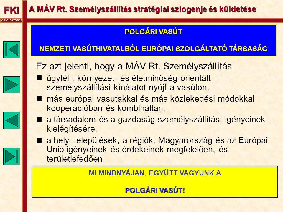 FKI 2002. október A MÁV Rt. Személyszállítás stratégiai szlogenje és küldetése Ez azt jelenti, hogy a MÁV Rt. Személyszállítás  ügyfél-, környezet- é