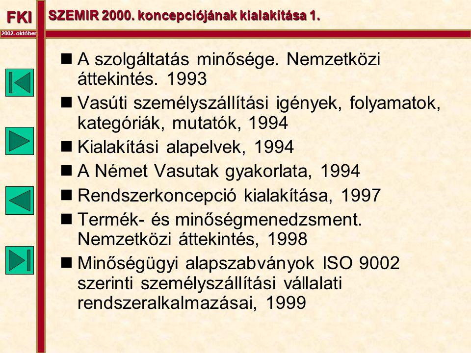 FKI 2002. október SZEMIR 2000. koncepciójának kialakítása 1.  A szolgáltatás minősége. Nemzetközi áttekintés. 1993  Vasúti személyszállítási igények