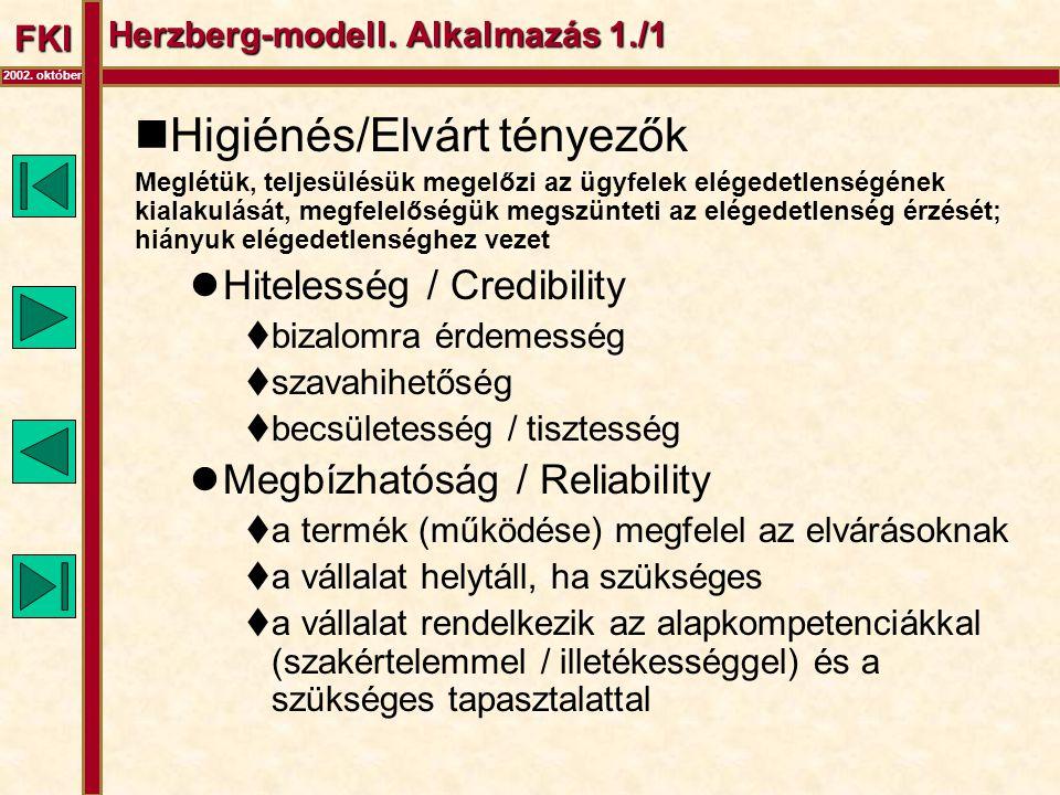 FKI Herzberg-modell. Alkalmazás 1./1  Higiénés/Elvárt tényezők Meglétük, teljesülésük megelőzi az ügyfelek elégedetlenségének kialakulását, megfelelő