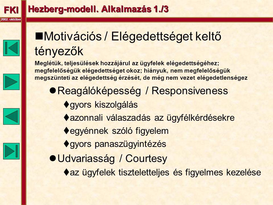FKI 2002. október Hezberg-modell. Alkalmazás 1./3  Motivációs / Elégedettséget keltő tényezők Meglétük, teljesülések hozzájárul az ügyfelek elégedett