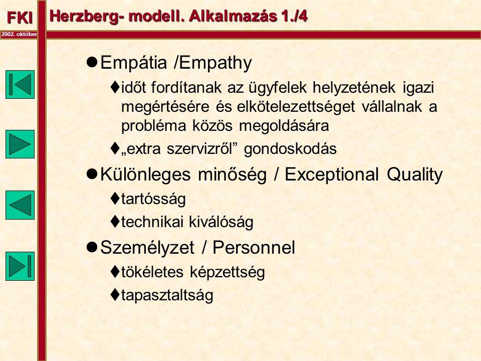 FKI 2002. október Herzberg- modell. Alkalmazás 1./4  Empátia /Empathy  időt fordítanak az ügyfelek helyzetének igazi megértésére és elkötelezettsége