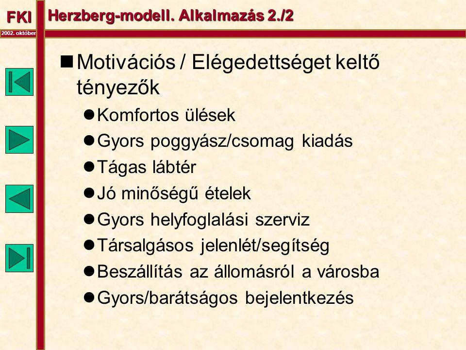 FKI 2002. október Herzberg-modell. Alkalmazás 2./2  Motivációs / Elégedettséget keltő tényezők  Komfortos ülések  Gyors poggyász/csomag kiadás  Tá